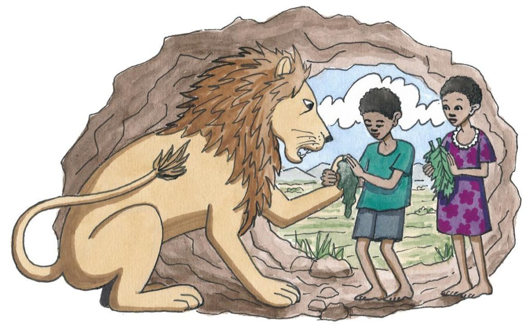 Ein Löwe mit zwei Kindern, die Kräuter für seine verletzte Pfote mitgebracht haben (Quelle: Peter Laux)