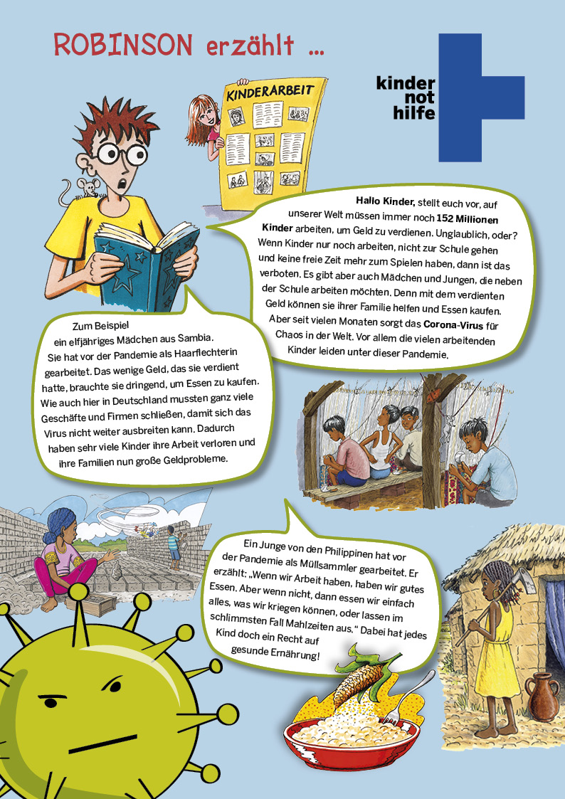 Comic mit Robinson und Zitaten von arbeitenden Kindern